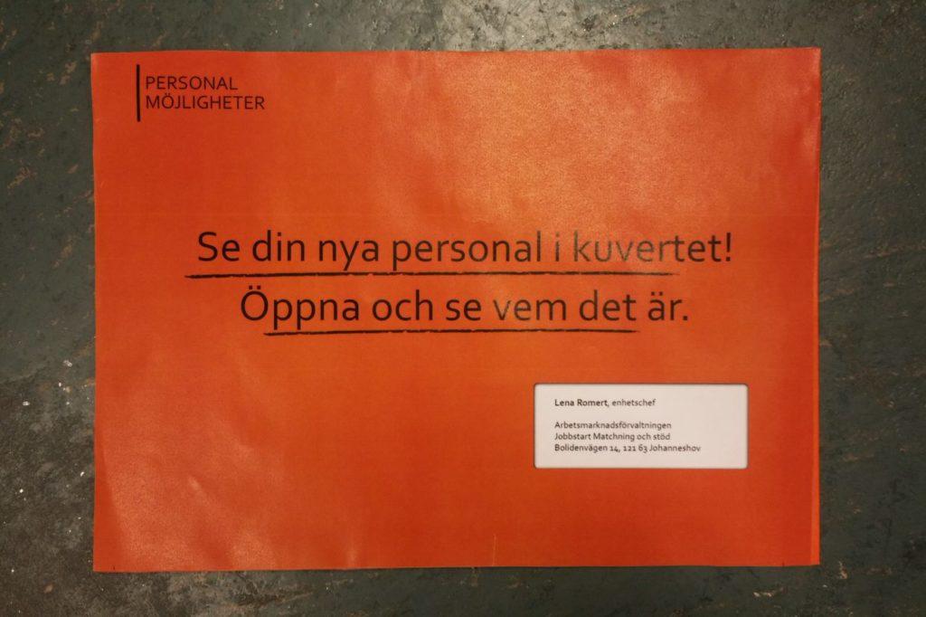Kuvertet till min jobbansök för mitt nuvarande jobb inom Stockholms Stad.